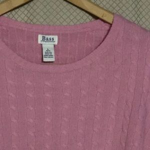 Bass ladies pink cable-knit pullover sweater